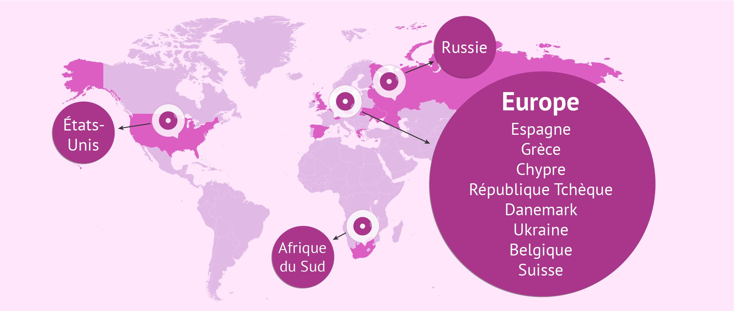 La carte des FIV à l'étranger