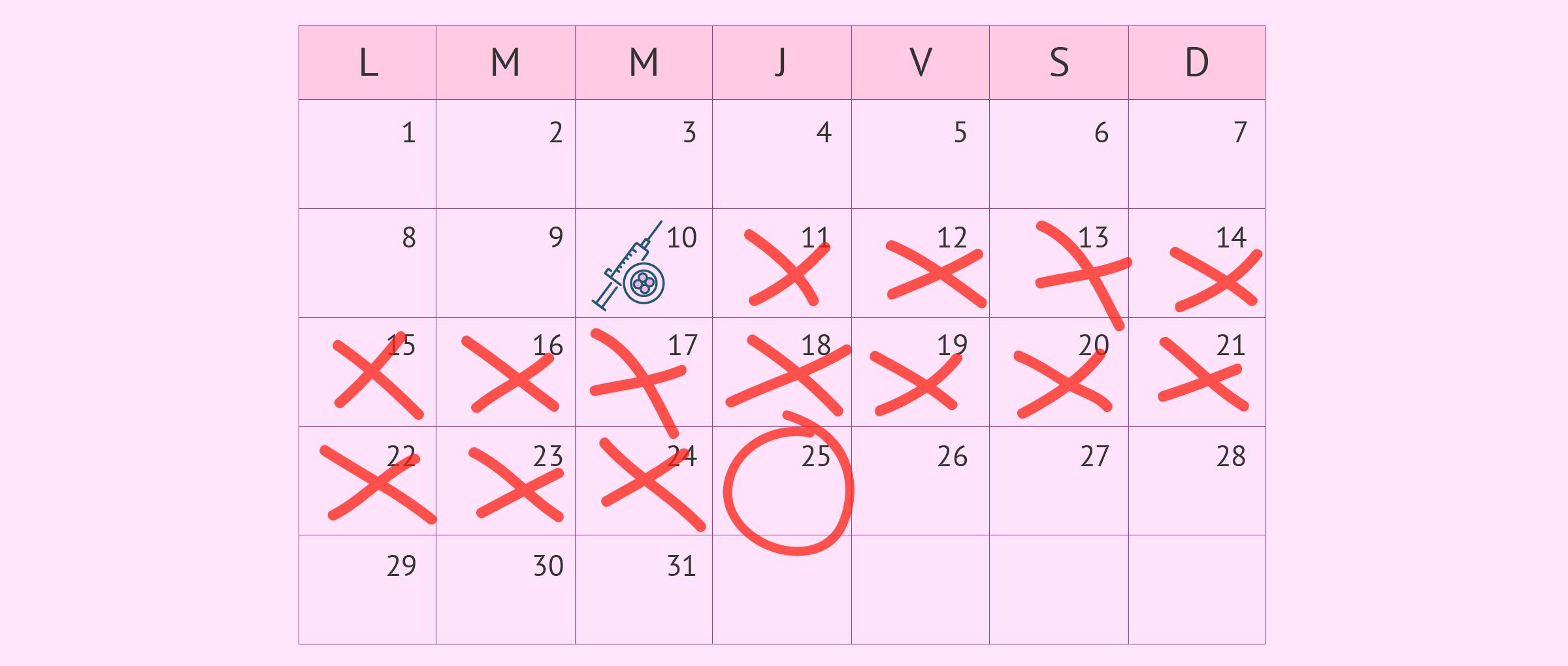 Imagen: Calendrier des deux semaines d'attente
